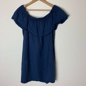 Young Fabulous Broke navy off the shoulder dress 6